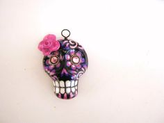 "Sugar skull pendant by California artist ""Kerry C."" www.facebook.com/sugarskullshoppe"