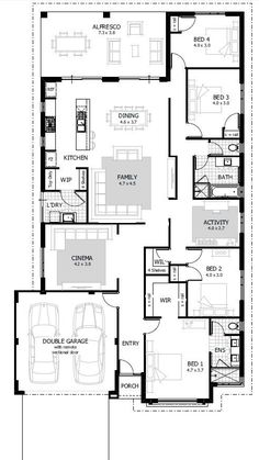 Simple house plans 4 bedrooms luxury simple 4 bedroom house designs homes floor plans Four Bedroom House Plans, 4 Bedroom House Designs, Floor Plan 4 Bedroom, Porch House Plans, Basement House Plans, House Plans One Story, New House Plans, Small Modern House Plans, Simple House Plans