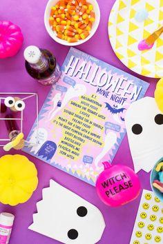 Hey Ghoul Hey: How To Throw A Halloween Girl's Night   studiodiy.com Happy Halloween, Best Halloween Movies, Halloween Movie Night, Spirit Halloween, Spooky Halloween, Halloween Treats, Halloween 2019, Family Halloween, Halloween Celebration