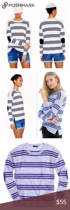 Listing! J. Crew striped elbow-patch sweater J. Crew Merino wool triple-stripe elbow-patch sweater. Size XXS. Runs on the bigger side, and could easily fit a small. 19 inch bust. 24 inches long. In mint condition! RETAIL! • I am selling the blue version • J. Crew Sweaters Crew & Scoop Necks