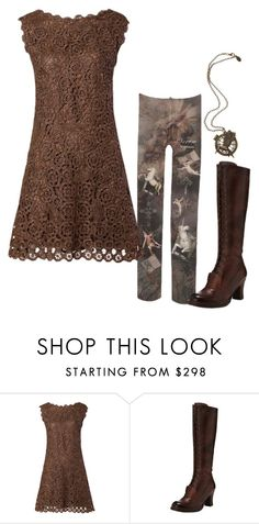 """""""Untitled #2696"""" by roseunspindle ❤ liked on Polyvore featuring Neosens, Boots, lace and brown"""