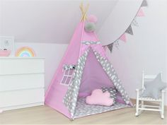 Teepee tents, mats, pillows, bedding for kids by MayabelKids Play Teepee, Teepee Kids, Teepee Tent, Indian Teepee, Childrens Teepee, Toy Basket, Kids Tents, Basket Decoration, Child Safety