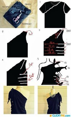 tutorial t shirt refashion, one shoulder and cut ties sides