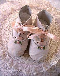 Edwardian Baby Shoes- pink ribbon laces - so sweet