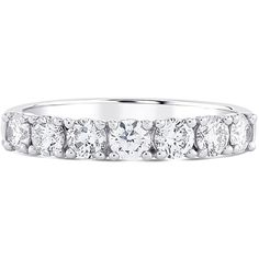 Lustro Lustro Half Eternity Diamond Ring ($2,585) ❤ liked on Polyvore featuring jewelry, rings, accessories jewellery rings, round cut diamond rings, round cut wedding rings, diamond eternity rings, band jewelry and diamond wedding rings