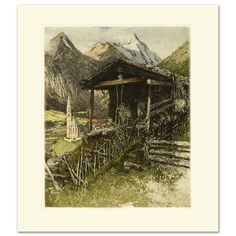 """Grossglockner"" Color Etching Luigi Kasimir (1881-1962) Austria Vienna Series #Vintage"