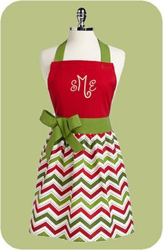 Personalized Chevron Print Holiday Apron on Etsy, $39.00