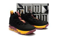7ed394a61b1 2017 Brand New Nike LeBron 15 Cavs Alternate Black Yellow Wine For Sale-4