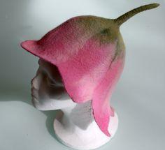 Felted girl tulip flower hat Pink handmade felt Baby toddler girl 2 - 5 year old child soft warm pure wool hat flowers children hat wool hat