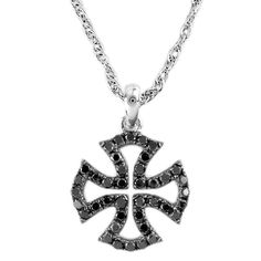 Black Diamond Cross Pendant