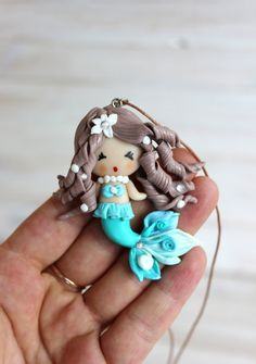 Clay pendant Mermaid girl pendant Mermaid doll kids jewelry children's accessories turquoise mermaid gift for Christmas USD) by NatsDoll Mermaid Gifts, Mermaid Dolls, Polymer Clay Pendant, Polymer Clay Art, Fall Gifts, Kids Jewelry, Clay Dolls, Soft Dolls, Gifts For Girls