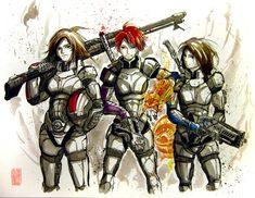Mass Effect fan art featuring Kasumi Goto, Davis Anderson, and three unidentified Marines. All three are works of art and look badass in the Sumie Style. Mass Effect Poster, Mass Effect Art, Kaidan Alenko, Fan Image, Third Person Shooter, My Favorite Image, Sci Fi Art, Dragon Age, Marines