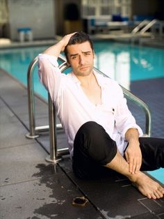 """Oscar Issac - I might have to start a """"Dudes at the pool"""" board because, how can I NOT pin wet dark haired guys?"""