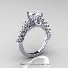 Classic 14K White Gold 1.0 Ct White Sapphire by DesignMasters, $799.00