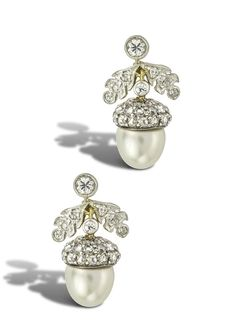 A pair of Victorian pearl and diamond pendant earrings, late 19th century. Each designed as an acorn, the surmount, leaves and cap embellished with circular- and rose-cut diamonds, supporting a pearl drop measuring 0.9mm, fitted case by Mallet, The Octagon, Bath. #Victorian #antique #earrings
