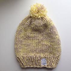 41bd35603c5 Yellow and Tan Slouchy Knit Beanie with pom pom and by CierraKnits  (Accessories