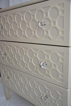 Brilliant Ikea hack: Repurposing an Ikea dresser with textured overlays
