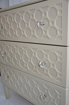Brilliant Ikea hack: Repurposing an Ikea dresser with textured overlays