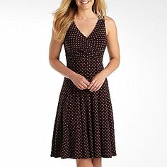 American Living V-Neck Dot Dress - jcpenney