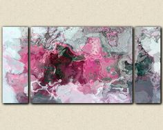Triptych abstract art 30x60 to 40x78 stretched canvas print, in ...