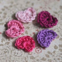 Brides.com: . Tiny Crochet Hearts. Slip these tiny crochet hearts into your sweetheart's hand, under their pillow, or in any other spot that might delight.  See the step-by-step project instructions and additional photos