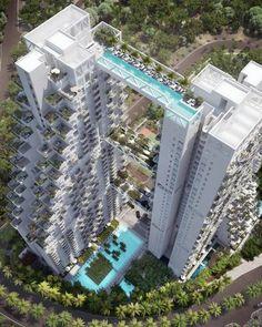 e Sky Habitat swimmable bridge, que será inagurado em Cingapura. A construção terá uma megapisicina, com fundo de vidro, ligando duas torres, com 38 andares.