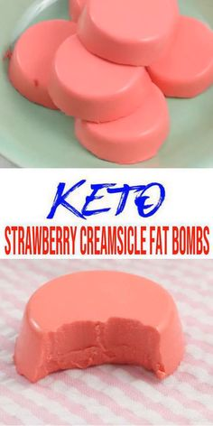 Keto fat bombs you won't be able to pass up! {Easy} low carb keto fat bomb recipe for the best Strawberry Creamsicle fat bombs. Perfect for ketogenic diet w/ keto friendly ingredients. Great keto snacks on the g Low Carb Desserts, Low Carb Recipes, Dessert Recipes, Quick Recipes, Keto Friendly Desserts, Healthy Desserts, Dinner Recipes, Healthy Recipes, Keto Fat