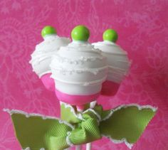 Green Cake Pops | Hot Pink & Lime Green Cake Pop. $30.00, via Etsy.