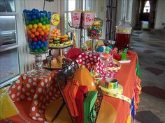 Carnival theme party -- Hawthorne Hurricane makes great candy holder!