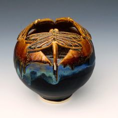 Inspiration for gourd work -- Dragonfly Art Deco Luminary in Gold, Black, Blue handmade pottery.