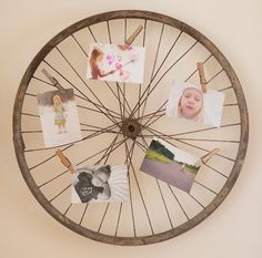 Get the steps for making an antique bicycle wheel photo display
