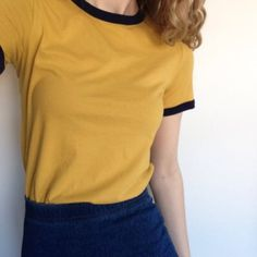 shirt yellow top t-shirt yellow mustard tumblr t-shirt aesthetic tumblr aesthetic mustard ringer tee top ranger tee t-shirt t-shirt mustard crewneck black