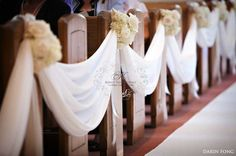 Church wedding Decorations  drapery with flowers