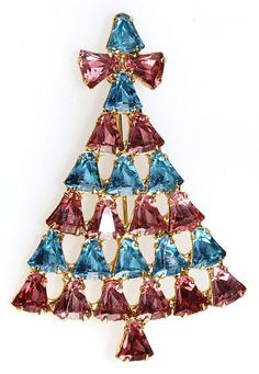 Dominique Pink and Blue Rhinestone Christmas Tree Pin