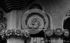 Shot in black and white, detail on an sculpture representing some flowers placed on the facade of this historic building Lleo Morera , set in Eixample, Barcelona, Catalunya, Catalonia, España, Spain, Europa, Europe