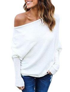 Leezeshaw Women Solid Color Rib Stitch Casual Crew Neck Long Sleeve Blouse Sweatshirt