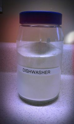 """Homemade Dishwasher Detergent - Since the kiddos think they are """"big enough' to get their own drinks, they now use 5 cups each everyday.... Translation = we can use one container of dishwasher detergent in a week!"""