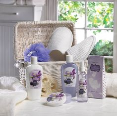 "Iris Blueberry Spa: This gorgeous bath spa set is a great gift for anyone, including yourself! Indulge in the sweet scent of Iris Blueberry as you pamper your way to smooth, soothed skin.  11 3/8"" x 6 1/2"" x 11 1/4"" high."