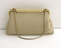 Clothing, Shoes & Accessories Periods & Styles Antique Art Deco Silver Frame Brown Tan Cream Enamel Chain Mail Purse W&d