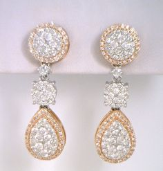 rose & white gold diamond drop style earrings by Leeds & Jensen. Williams Jewellery in Hamilton, ON. Leeds, White Gold Diamonds, Hamilton, Diamond Earrings, Drop, Jewellery, Watches, Style, Swag