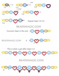 Free pattern for bracelet Red Hearts for st. Valentine Day U need: seed beads toho Beading Patterns Free, Seed Bead Patterns, Beaded Bracelet Patterns, Free Pattern, Weaving Patterns, Knitting Patterns, Bracelet Designs, Embroidery Patterns, Art Patterns