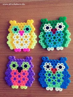 Iron-on beads Owl … - Diy Jewelry Hama Beads Design, Diy Perler Beads, Perler Bead Art, Owl Perler, Melty Bead Patterns, Perler Patterns, Beading Patterns, Quilt Patterns, Peyote Patterns