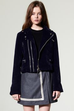 Zoe Velvet Suede Rider Jacket Discover the latest fashion trends online at storets.com