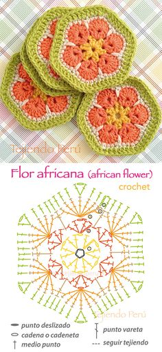 Crochet: flor africana o african flower! Diagrama y video tutorial :)