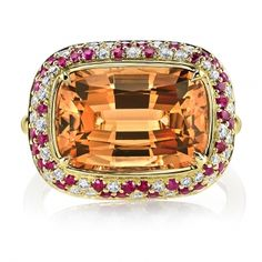 Imperial Topaz & Diamond Ring