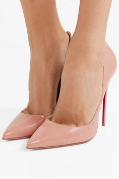 Christian Louboutin So Kate 120 Patent-leather Pumps - Beige , Lace High Heels, Womens High Heels, White Tennis Shoes, Black Shoes, Wide Shoes, White Wedding Shoes, Christian Louboutin So Kate, Best Shoes For Men, Clear Heels