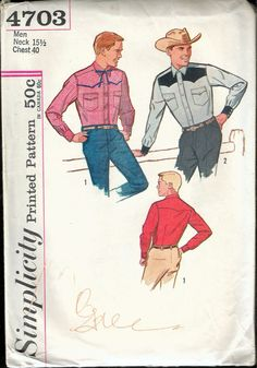 "Vintage 1960's Simplicity 4703 Men's Fitted Western Shirt Sewing Pattern Size Neck 15 1/2"" Chest 40"" by Recycledelic1 on Etsy"