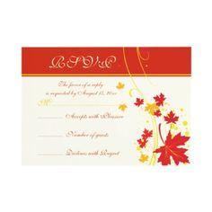Maple leaves red, orange, yellow #fall #wedding custom #RSVP card.