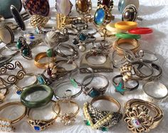 Retro Costume Jewelry 87 Rings Rhinestone Shell Avon Sarah Stone Faux Turquoise