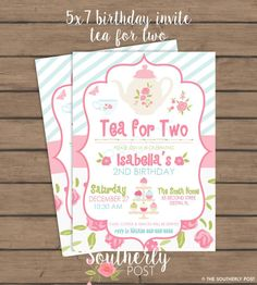 Tea for TWO Second Birthday Party Invitation by SoutherlyPost